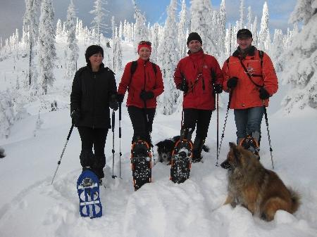 Hundeschneeschuhtour Bayerischer Wald Dreiessel Schneeschuhwanderung mit Hund Schneeschuhwandern Hund