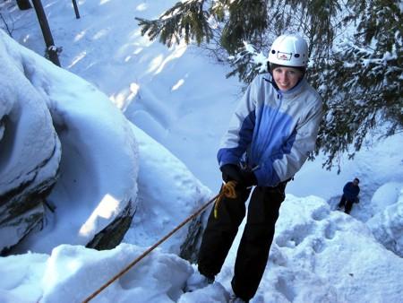 Abseil-Schneeschuhtour Schneeschuhwandern Bayerischer Wald Dreisessel Wegscheid Abseilen